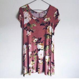 Mind Code Pink Floral Swing Dress